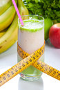 Fruit juice diet and fitness in a glass with a meter Stock Photography