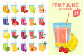 Fruit juice in glass, vector illustration set. Fresh juices icon.