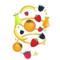 Fruit in a juice stream with spray. Ripe berries. Raspberries, blackberries and strawberries. Bananas, pears and oranges