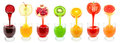 Fruit juices fresh flowing from into the glass Royalty Free Stock Photography