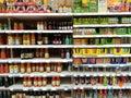 Fruit juices at supermarket Royalty Free Stock Photo