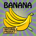 Fruit label banana color illustration Stock Photography