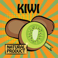 Fruit label kiwi color illustration Royalty Free Stock Photography
