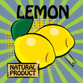 Fruit label lemon color illustration Stock Photography