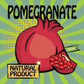 Fruit label pomegranate color illustration Stock Image