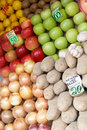 Fruit laid out on sale with price lists Stock Photography