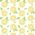 Fruit lemon with green leaves on a white background pattern seam