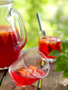 Fruit lemonade or sangria refreshing in glasses selective focus Royalty Free Stock Photography