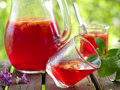 Fruit lemonade or sangria refreshing in glasses selective focus Royalty Free Stock Images