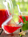 Fruit lemonade or sangria refreshing in glasses selective focus Royalty Free Stock Photos