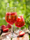 Fruit lemonade or sangria refreshing in glasses selective focus Stock Photo