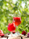 Fruit lemonade or sangria refreshing in glasses selective focus Stock Images