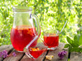 Fruit lemonade or sangria refreshing in pitcher and glasses selective focus Stock Images
