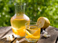 Fruit lemonade or sangria refreshing white in glasses selective focus Royalty Free Stock Images