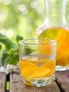 Fruit lemonade or sangria refreshing white in glasses selective focus Stock Images