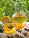 Fruit lemonade or sangria refreshing white in glasses selective focus Royalty Free Stock Photo