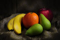 Fruit light painting still life of different with Stock Photo