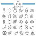 Fruit line icon set, food symbols collection
