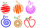 Fruit logo set isolated line art Royalty Free Stock Photography