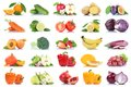 Fruit many fruits and vegetables collection isolated apple orang Royalty Free Stock Photo