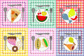 Fruit, meat, cakes and other food on colorful plat