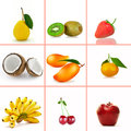 Fruit mix fresh theme collage composed of different images Royalty Free Stock Photography