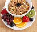 Fruit and muesli cereals five different cereal in white china wood background Stock Image