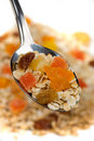 Fruit muesli in a spoon Stock Images