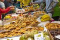 Fruit and mushrooms are plentiful at Mercat Central in Valencia, Spain Royalty Free Stock Photo
