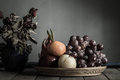 Fruit in old wooden tray. Royalty Free Stock Photo