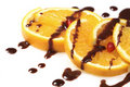 Fruit  orange with  chocolate glaze Royalty Free Stock Image