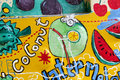 Fruit paintings on the wall in chiangmai Stock Image