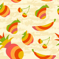 Fruit pattern seamless with striped fruits on a grunge background Stock Photo
