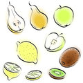Fruit Pear Apple Lemon Kiwi Simple Drawing Sketch