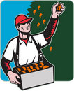 Fruit Picker With Basket Retro Woodcut Royalty Free Stock Photos