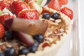 Fruit pie food close up of friut on plate Royalty Free Stock Photos