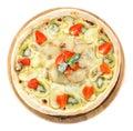 Fruit pizza over white background Royalty Free Stock Photo