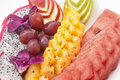 A fruit plate dessert with watermelon and other fruits Royalty Free Stock Images