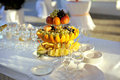 Fruit plate weddin table sunset Stock Images