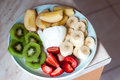 Fruit plate with yogurth Royalty Free Stock Photo