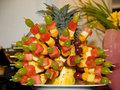 Fruit prepared for party various fruits arraged on pineapple Stock Images