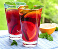 Fruit punch in glasses Royalty Free Stock Photos