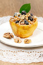Fruit quince with cottage cheese and nuts Royalty Free Stock Photography