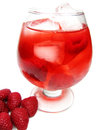 Fruit red punch cocktail drink with raspberry Stock Photos