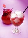 Fruit red punch cocktail drink with strawberry Stock Images