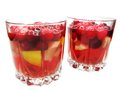 Fruit red punch cocktail drinks with cherry Stock Photo