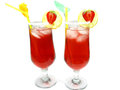 Fruit red punch cocktail drinks with strawberry Royalty Free Stock Images