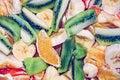 Fruit salad with bananas, oranges and kiwi Royalty Free Stock Photo
