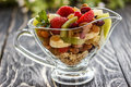 Fruit salad closeup with berries, yogurt and granola in a glass bow Royalty Free Stock Photo