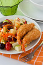 Fruit Salad with deep fried shrimp Royalty Free Stock Images